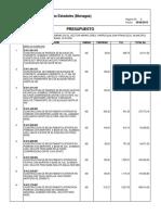Presupuesto Cabaña 2015