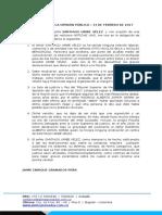 Comunicado de La Defensa de SANTIAGO URIBE VÉLEZ - 13 de Febrero de 2017