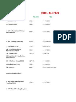 Jebel Ali Free Zone Data File