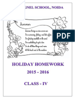 Class 4 Holiday Homework 2015