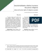 Descolonialidade e direitos humanos dos povos indígenas. Fernando Antônio de Carvalho Dantas