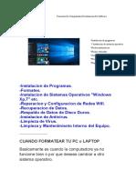 Formateo de Computadora E Instalación de Software
