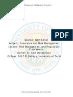 Risk Management and Regulatory Framework