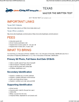 Dmv cheat sheets texas identity document traffic malvernweather Gallery