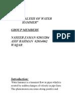 """Fluid mechanics project """"water hammer"""""""