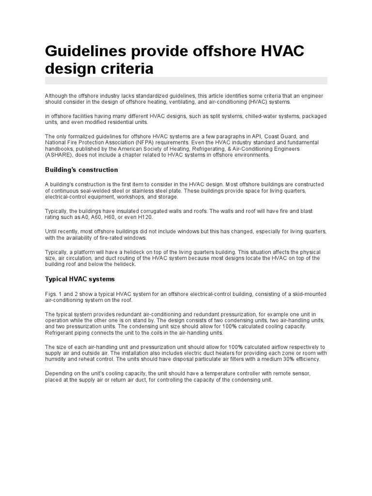Offshore Hvac Design Hvac Duct Flow
