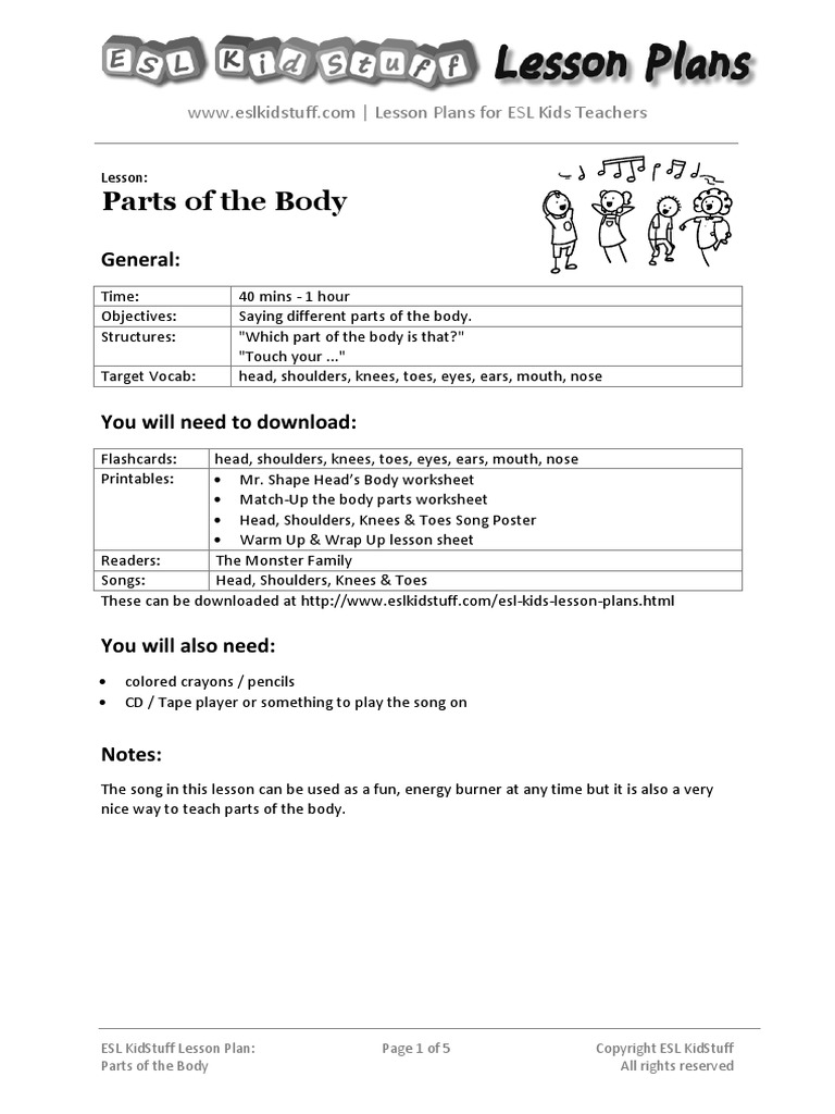 worksheet Parts Of The Body Esl Worksheet body lesson plan pdf english as a second or foreign language