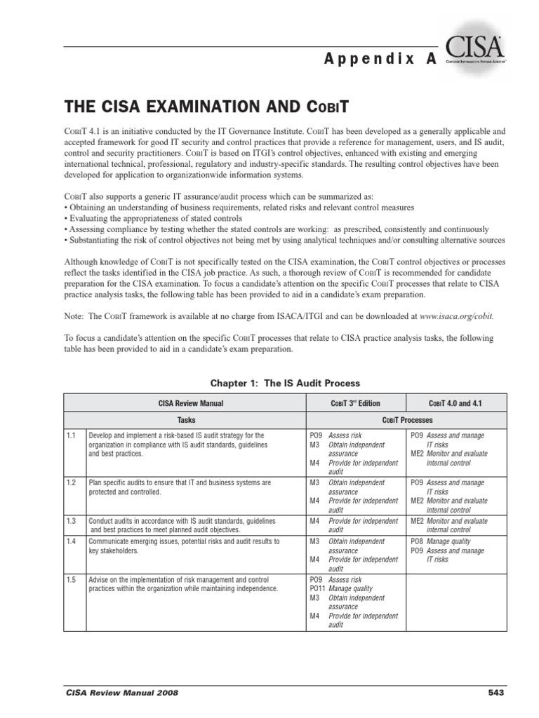 The cisa examination and cobitpdf cobit audit fandeluxe Images
