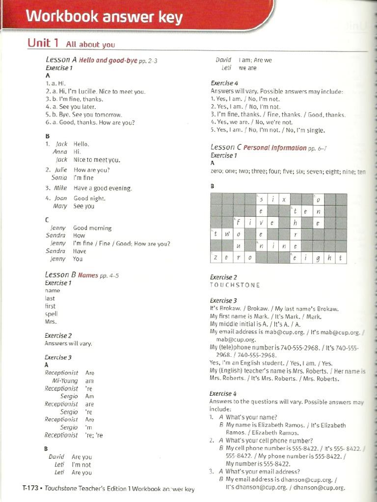 Touchstone 1 2nd edition workbook answer key 1 fandeluxe Gallery