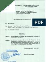 Décret portant nomination d'Adama Toungara