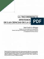 La Incoherencia Epistemológica de Las Cienci as de Gestión -Le Moigne