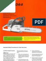 Stihl 044 Instruction Manual