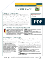 option 6 types of insurance information sheet