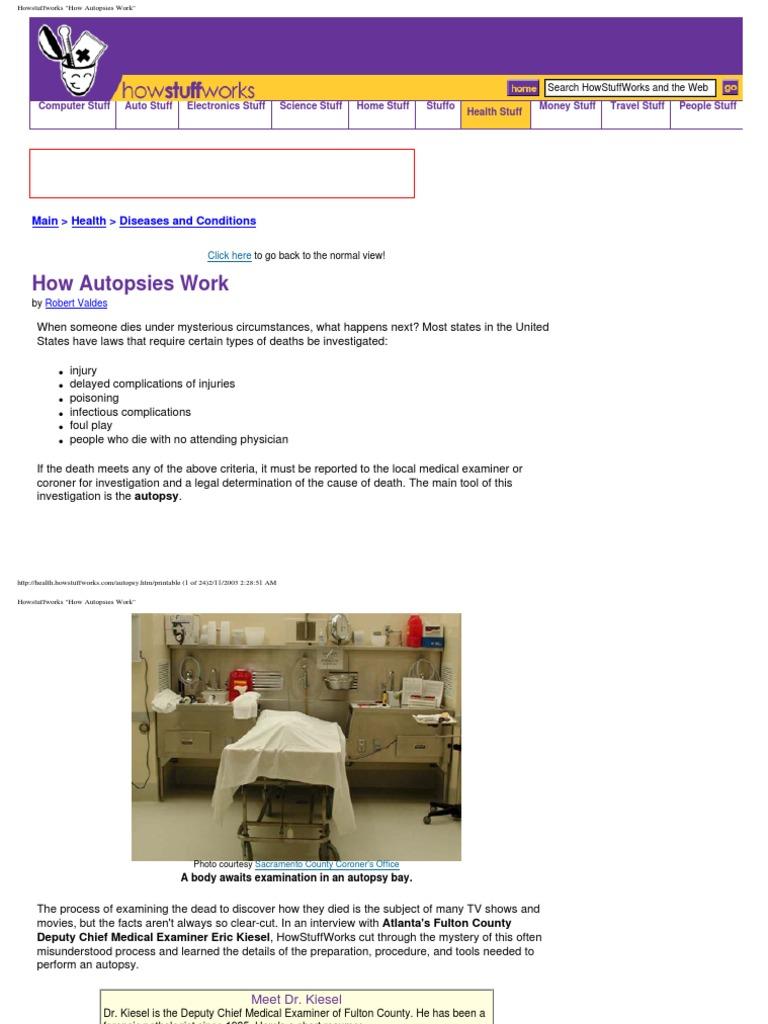 Autopsies Work | Autopsy | Coroner