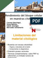 Rendimiento del bloque celular en muestras citológicas