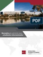 Normativa de Admision Para Estudiantes Internacionales