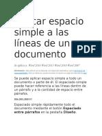 Aplicar Espacio Simple a Las Líneas de Un Documento