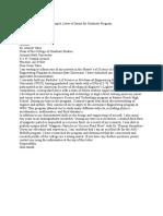 Sample Letter of Intent for Graduate Program