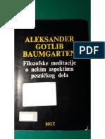 Aleksander Gotlib Baumgarten - Filozofske Meditacije o Nekim Aspektima Pesničkog Dela, preveo Aleksandar Loma