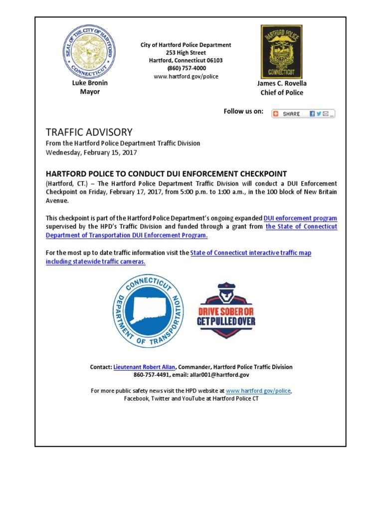DUI Checkpoint February 17, 2017