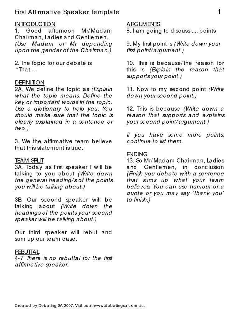 speech structure template pdf argument semiotics