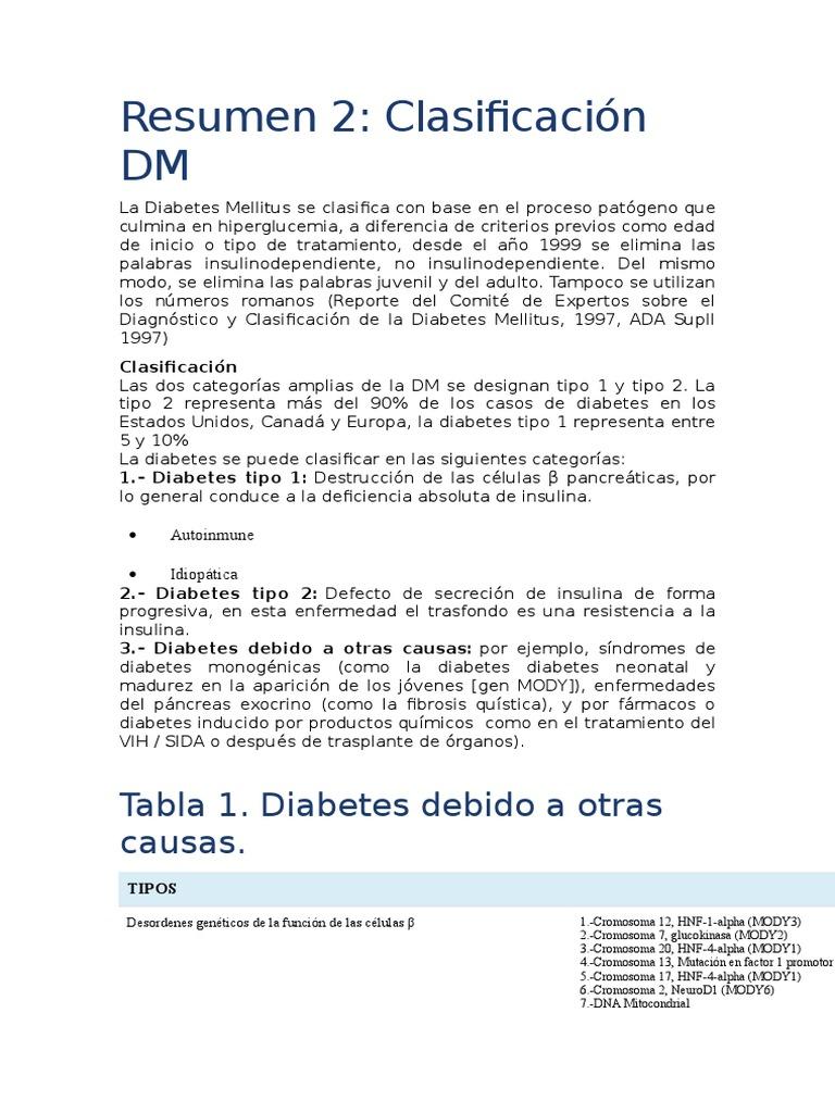 Resumen de las causas de la diabetes.