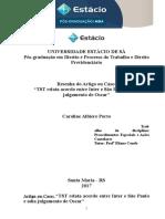 Resenha - TST Relata Acordo Entre Inter e São Paulo e Adia Julgamento de Oscar (Proced Especiais e Ações Cautelares)