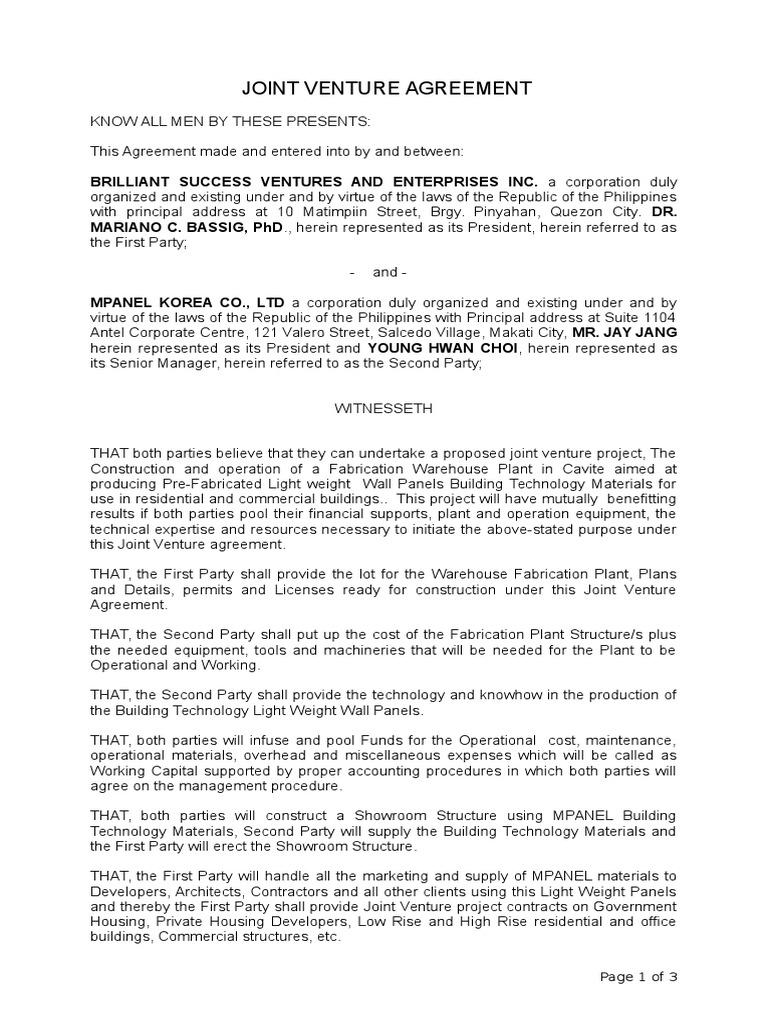 joint venture marketing agreement