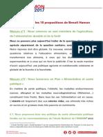 Les 10 Propositions Alimentation de Benoit Hamon
