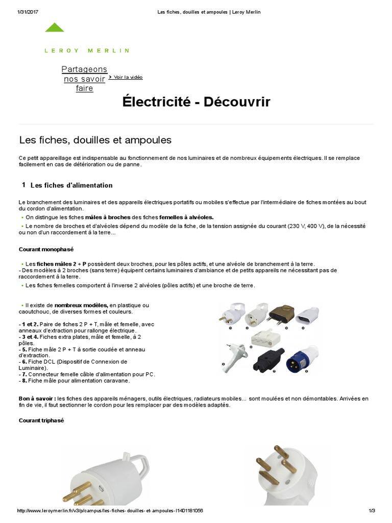 Les Fiches Douilles Et Ampoules Leroy Merlin Compact