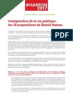 Les 10 Propositions de Benoît Hamon pour la transparence de la vie publique