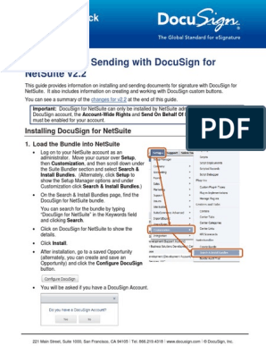 DocuSign for NetSuite Install | Portable Document Format