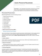 Procurement Process Cycle Procure to Pay Process P2P
