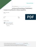 Escala de Autoestima de Rosenberg - Fiabilidad y Validez