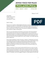 Letter to Craig Sellers From JVP Philadelphia - 2-14-17