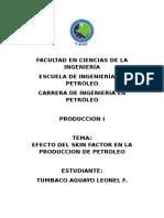 Efecto Del Skin Factor en La Produccion de Petroleo