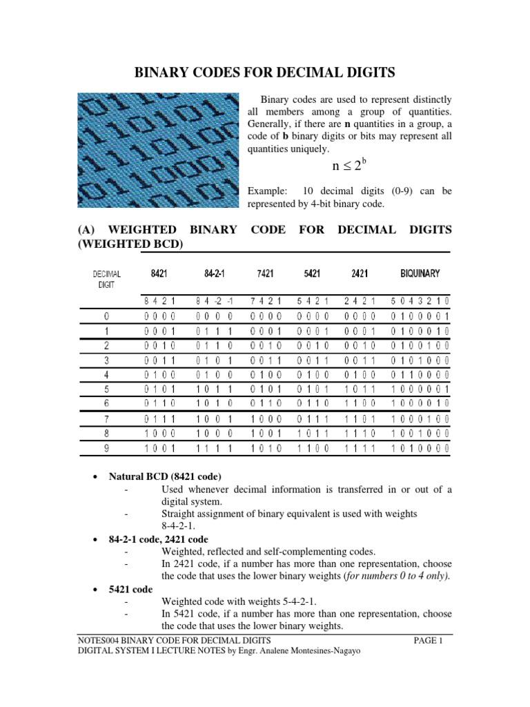 Binary Codes pdf | Ascii | Binary Coded Decimal