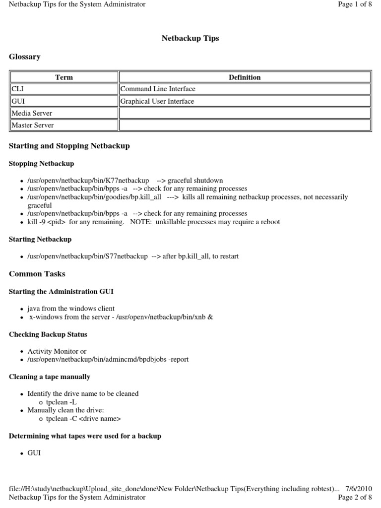 Netbackup Tips Everything Including Robtest Backup Directory