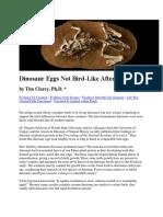 Dinosaur Eggs Not Bird-Like After All