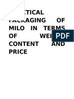 Practical Packaging of Milo in Terms of Weight Content and Price