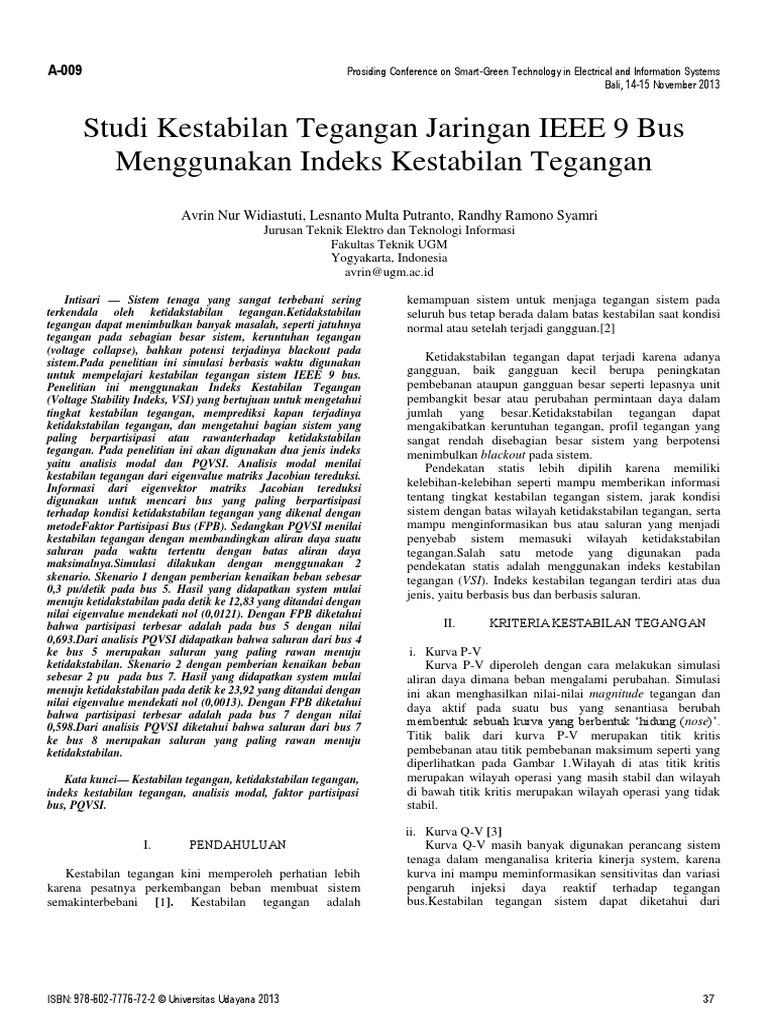 Studi Kestabilan Tegangan Jaringan IEEE 9 Bus