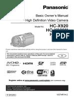Panasonic Hc-x920 en Om