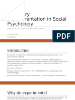 Summary article Experimentation in Social Psychology