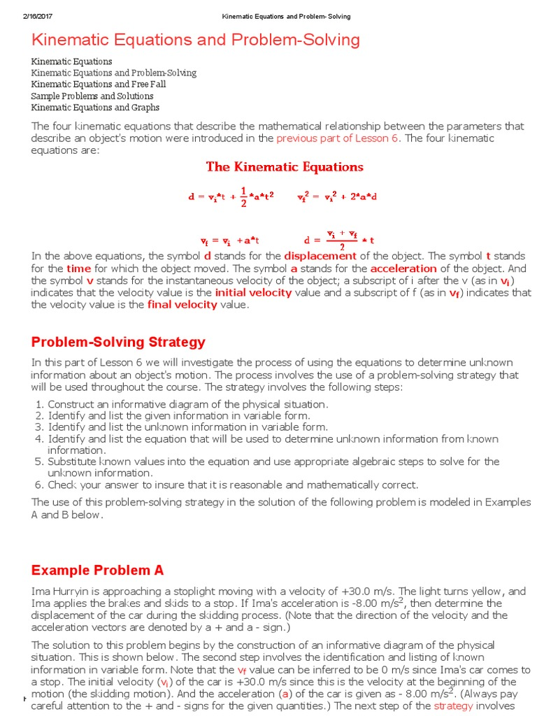 Kinematic Equations and Problem-Solving.pdf | Equations ...