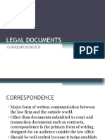 LEGAL DOCUMENTS Correspondence