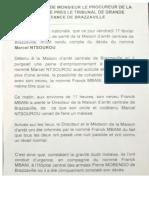 Déclaration du Procureur de la République du Congo sur le décès de Marcel Ntsourou