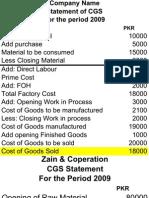 CGS - Cost of Goods Statement