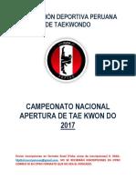 Bases Campeonato Apertura 2017 Revisado