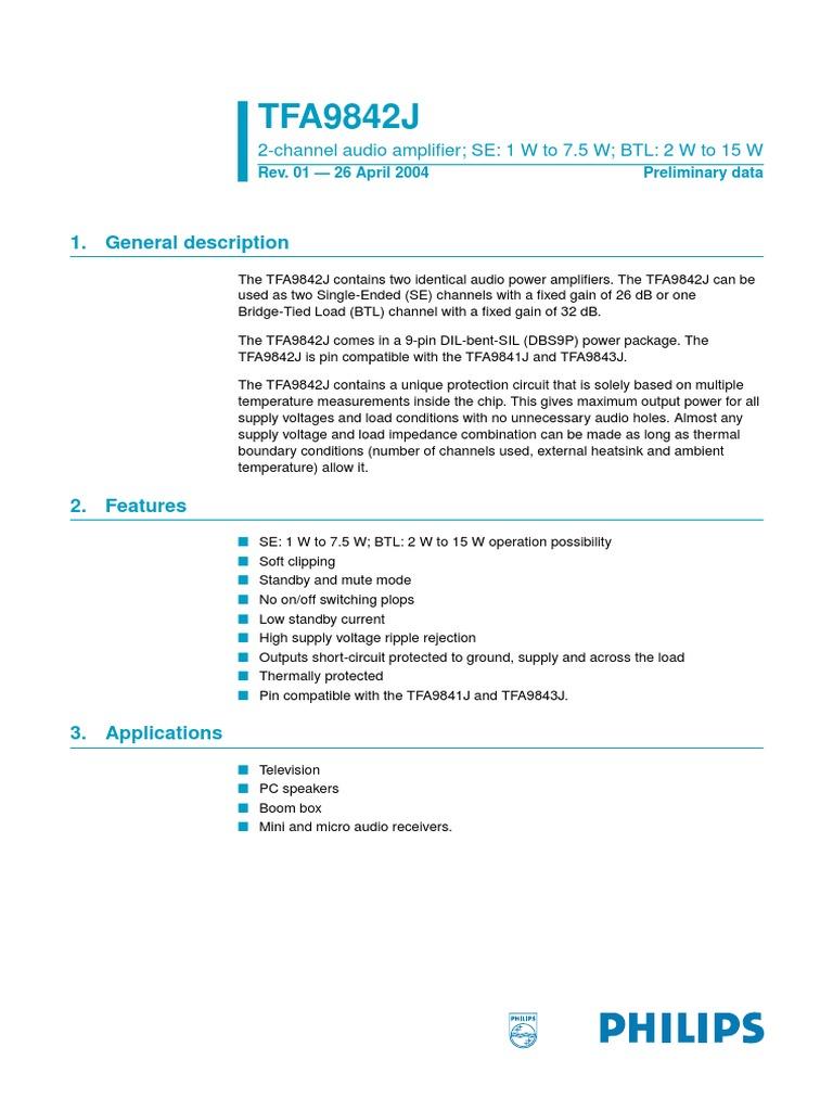 Tfa9842j 2 Channel Audio Amplifierpdf Amplifier 12w Telecommunications Engineering