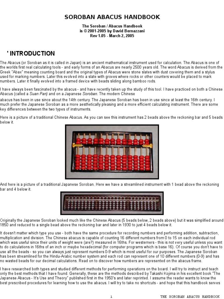 Soroban Abacus Handbook | Division (Mathematics ...